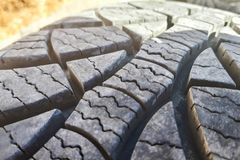 Close-up winter tire tread. Textured tire tread. stock images