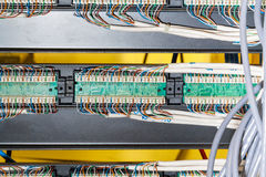 Close up of wiring in server Stock Photography