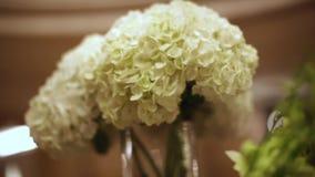 Close-up witte bloemen voorraad Vakantiebloemen in vaas Bloemdecoratie op de huwelijkslijsten stock footage