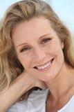 Close-up of a woman. Close-up of a blond woman Royalty Free Stock Images
