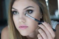 Close Up of Woman Applying Make Up Royalty Free Stock Photo