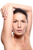Close Up of Woman with Arms Above Head Stock Photography