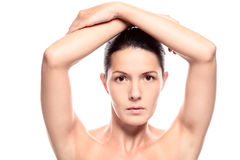 Close Up of Woman with Arms Above Head Stock Image