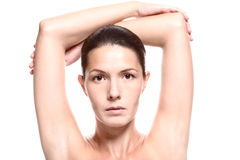 Close Up of Woman with Arms Above Head Royalty Free Stock Photography