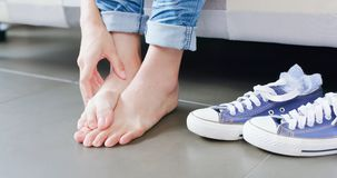 Close up woman athlete foot. With health concept stock images