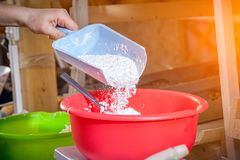 Baker pouring white flour royalty free stock photography