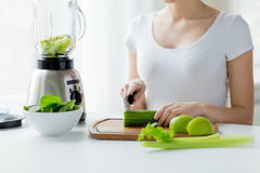 Close up of woman with blender chopping vegetables Royalty Free Stock Photos