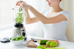 Close up of woman with blender and vegetables Royalty Free Stock Photos