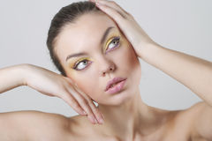 Close-up woman with bright make-up Royalty Free Stock Image