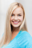 Close up of woman. Bright close up of smiling woman indoors Stock Photos