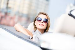 Close up of woman in the cabriolet Royalty Free Stock Images