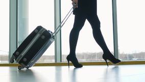 Close up of woman carrying suitcase at the airport terminal and hurry up for check in on holiday or business trip. Happy. Close up of woman carrying suitcase at stock video footage