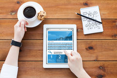 Close up of woman with chart on tablet pc Royalty Free Stock Photo