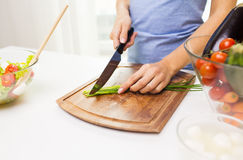 Close up of woman chopping green onion with knife Stock Photos