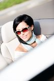 Close up of woman in the convertible car Royalty Free Stock Photography
