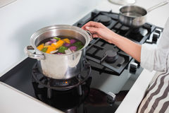 Close up on woman cooking healthy vegetables Stock Images