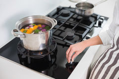 Close up on woman cooking vegetables Stock Photos