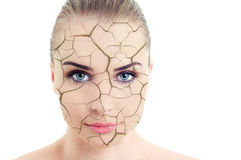Close-up of woman cracked and damaged face Stock Images