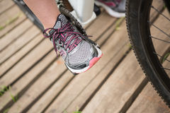 Close-up of woman cycling Royalty Free Stock Photos