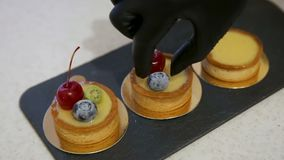 Close up of chef decorating a fresh baked cake with cherry and blueberry stock video