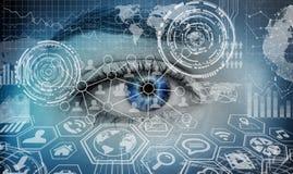 Close-up of woman digital eye 3D rendering Stock Image
