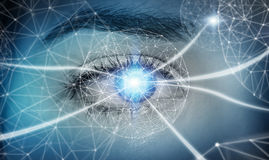 Close-up of woman digital eye network concept 3D rendering Stock Photo