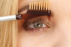Woman brushing her eyelashes. Close up of woman doing her make up, preparing lashes using brush tool brushing eyelashes royalty free stock images
