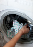 Close-up of a woman doing laundry Royalty Free Stock Images