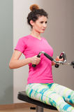 Close-up of woman doing sport in the fitness club Royalty Free Stock Photography
