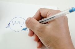 Close-up of a woman drawing into her diary. By ballpoint pen Stock Photography