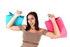 Close up of woman in dress holding her shopping bags up stock image