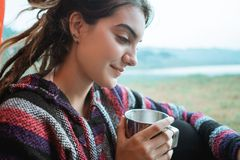Close up a woman drink a cup of coffee after wake up royalty free stock photos
