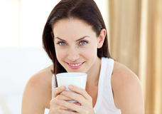 Close-up of a woman drinking a coffee Royalty Free Stock Photography