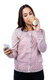 Close-up of woman drinking coffee Royalty Free Stock Image