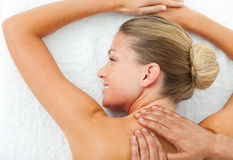 Close-up of woman enjoying a massage Royalty Free Stock Photo