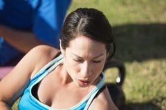 Close Up of Woman Exercising Royalty Free Stock Photo