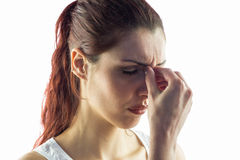 Close-up of woman experiencing headache Stock Photo