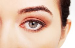 Close up on woman eye with an artistic makeup Royalty Free Stock Photography
