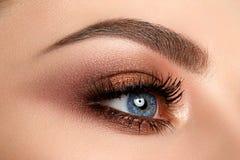 Close up of woman eye with smokey eyes makeup Royalty Free Stock Photo