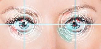 Close-up woman eyes with laser medicine Royalty Free Stock Images