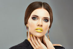 Close up woman face. Beauty model Stock Images