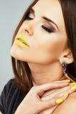 Close up woman face. Beauty model Royalty Free Stock Photos