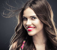 Close up woman face. Woman hair style fashion portrait . isolated. close up female face Royalty Free Stock Images
