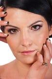 Close up of woman face with makeup Stock Photos