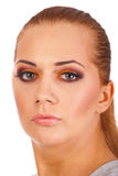 Close up of woman face with orange make up Royalty Free Stock Images