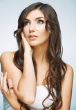 Close up woman face portrait with long hair. Stock Images