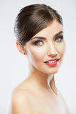 Close up woman face  on white. Royalty Free Stock Photography