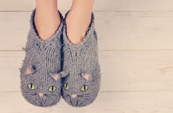 Close up of woman feet  wearing cozy warm wool socks. Warmth concept. Winter clothes Stock Images