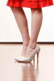 Close up on woman feet wearing high heels Royalty Free Stock Photography