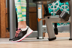 Close-up with woman feet wearing training shoes Royalty Free Stock Photo